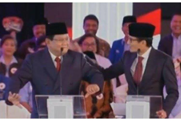 Prabowo melakukan tarian ketika debat pilpres 2019 pada Kamis (17/1/2019).