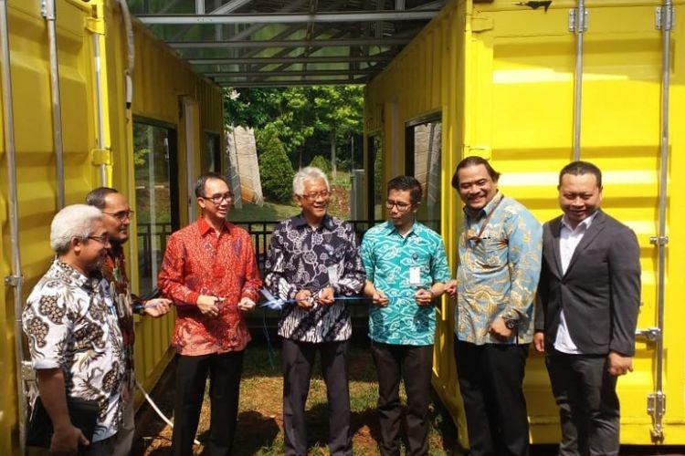 Peresmian rumah kontainer Sofwan House TREC FTUI di Eng Park FTUI, Depok, Kamis (25/10/2018).