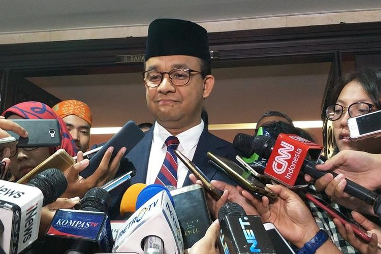Gubernur DKI Jakarta Anies Baswedan di Gedung DPRD DKI Jakarta, Jalan Kebon Sirih, Jakarta Pusat, Rabu (14/8/2019).