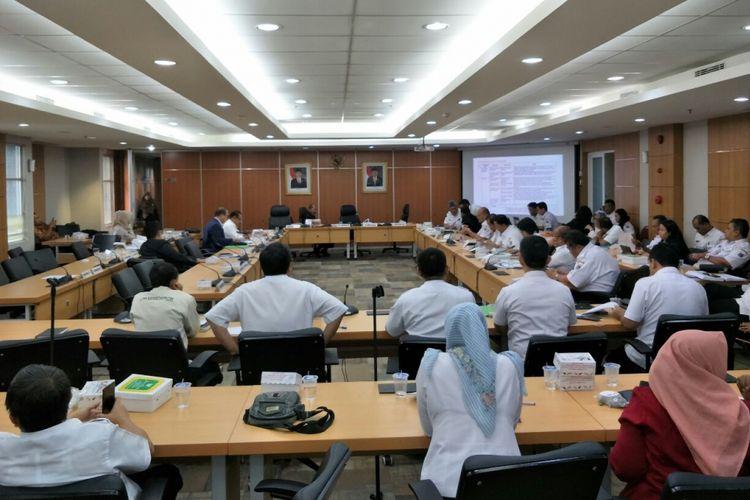 Rapat pembahasan Rencana Pembangunan Jangka Menengah Daerah (RPJMD) di Komisi D DPRD DKI Jakarta, Rabu (4/4/2018).