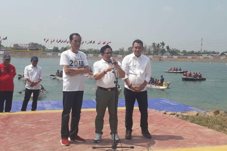 Presiden Republik Indonesia Joko Widodo meresmikan Jakabaring Sport City Center, Sabtu (14/7/2018).