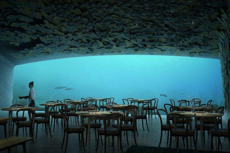 Berada lima meter di bawah permukaan laut Norwegia, restoran yang dibangun sepanjang 36 meter ini dirancang oleh firma arsitek asal Norwegia, Snøhetta.