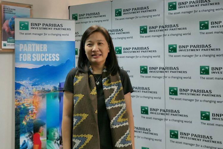 Presiden Direktur, PT BNP Paribas Investment Partners, Vivian Secakusuma di Gedung WTC 1 Jakarta, Rabu (28/2/2018).