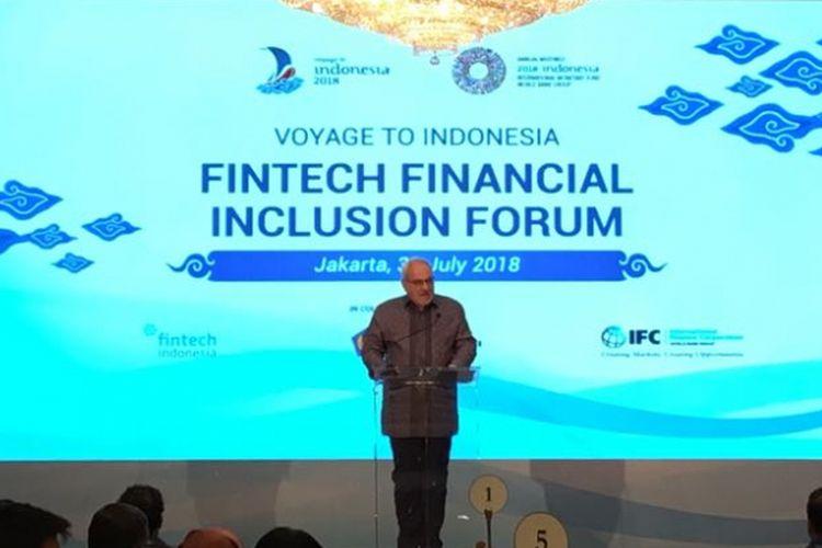 Chief Executive Officer International Finance Corporation (IFC) Philippe Le Houerou saat memberi sambutan dalam Forum Inklusi Finansial FinTech Indonesia di Hotel Dharmawangsa, Jakarta Selatan, Selasa (31/7/2018).