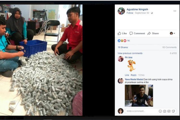 Keluarga ini menabung receh selama sekitar 5 tahun di dalam 10 galon. Jumlah receh itu mencapai Rp 60 juta.