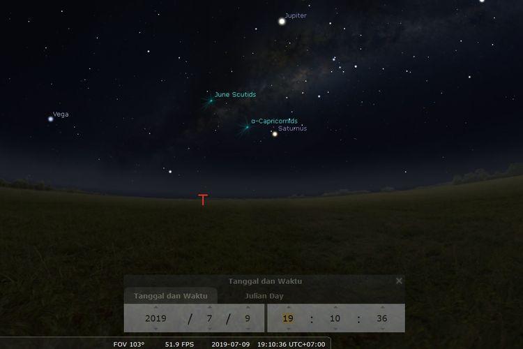 Ilustrasi pemandangan langit malam pada Rabu (10/7/2019). Saturnus akan tampak di timur saat senja dengan magnitudo 0,05.