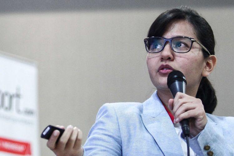 Sekjen PSSI Ratu Tisha Destria saat memaparkan program PSSI dalam Forum Diskusi BOLA di Gedung Kompas Gramedia, Jakarta, Rabu (8/8/2018).