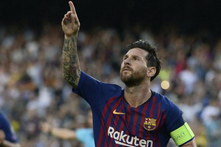 Lionel Messi merayakan golnya pada pertandingan Barcelona vs PSV Eindhoven dalam matchday 1 Liga Champions di Camp Nou, 18 September 2018.