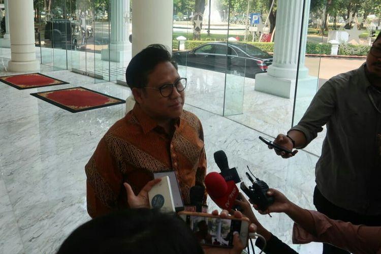 Ketum PKB Muhaimin Iskandar usai bertemu Wakil Presiden Jusuf Kalla