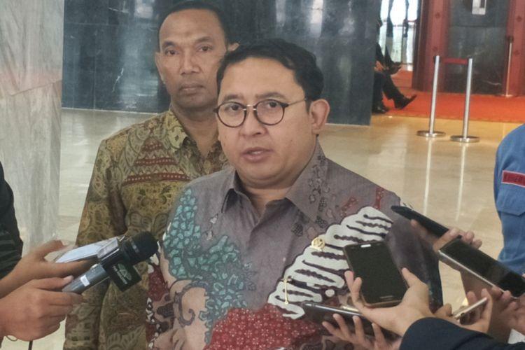 Wakil Ketua Umum Partai Gerindra Fadli Zon saat ditemui di Kompleks Parlemen, Senayan, Jakarta, Selasa (27/2/2018).