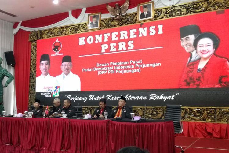 Konferensi pers DPP PDI-P, Jumat (19/4/2019)