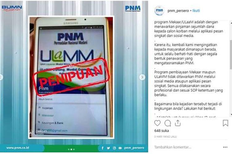 Hoaks pesan adanya tawaran peminjaman dana kepada penerima pesan yang mengatasnamakan PT Permodalan Nasional Madani (PNM).