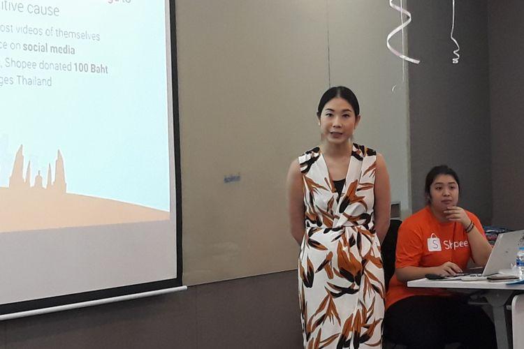 Bow P Mahatharadol, Head Corporate Development Shopee Thailand pada acara Seller Exchange di Kantor Shopee Thailand, Bangkok, Jumat (23/11/2018).
