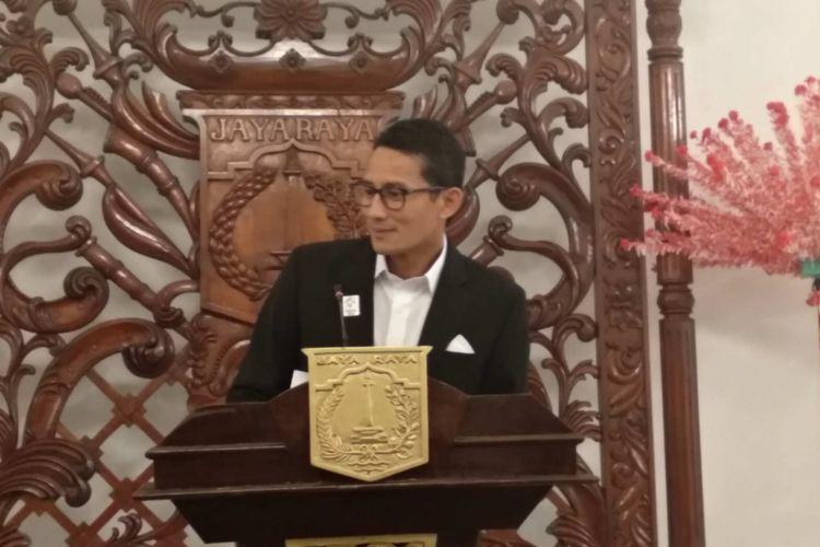 Wakil Gubernur DKI Jakarta Sandiaga Uno di Balai Kota DKI Jakarta, Senin (7/5/2018).