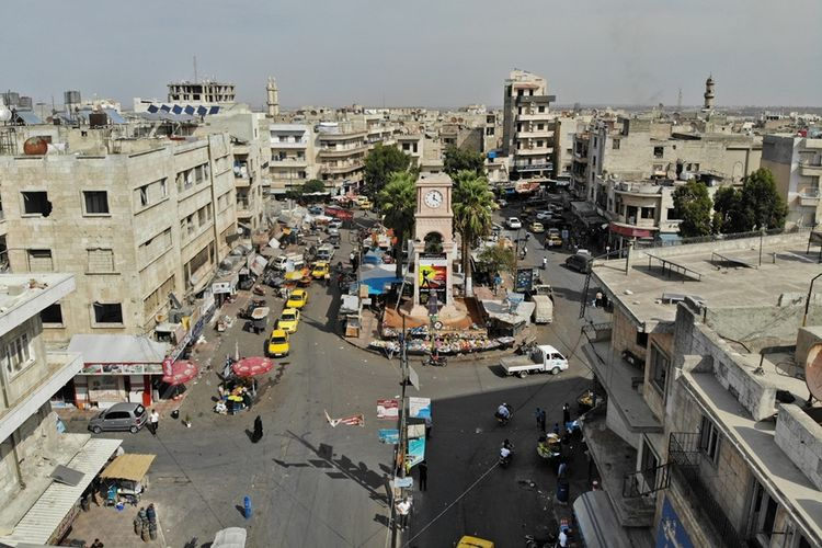 Suasana salah satu sudut kota di Provinsi Idlib yang merupakan wilayah kantong terakhir yang dikuasai pemberontak Suriah.
