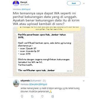 Tangkapan twit netizen di media sosial