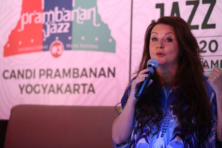 Sarah Brightman saat konferensi pers Prambanan Jazz Festival 2017 di Hotel Hyat Residence, Yogyakarta, Jumat (18/8/2018).