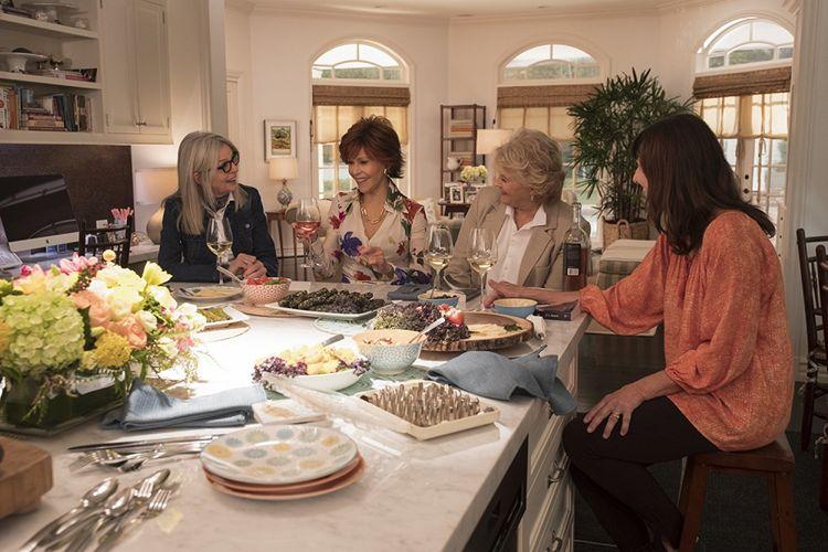Para pemeran utama film Book Club (dari kiri ke kanan): Diane Keaton, Jane Fonda, Candice Bergen, dan Mary Steenburgen.