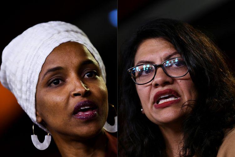 Foto kiri adalah Ilhan Omar, politisi Minnesota yang merupakan imigran asal Somalia. Sedangkan kanan merupakan Rashida Tlaib, politisi keturunan Palestina yang berasal dari Michigan. Keduanya dilarang masuk Israel karena dianggap hendak menyakiti negara tersebut.