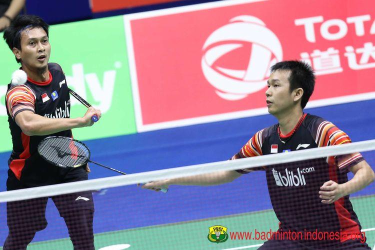 Mohammad Ahsan dan Hendra Setiawan saat melawan Denmark pada laga penyisihan grup Piala Sudirman 2019 di Guangxi Sports Center, Nanning, China, Rabu (22/5/2019).