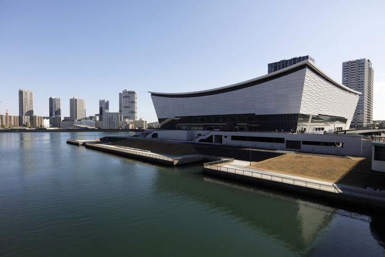 Foto udara yang menunjukkan Ariake Arena, lokasi perlombaan voli putra dan putri pada ajang Olimpiade Musim Panas 2020 Tokyo.