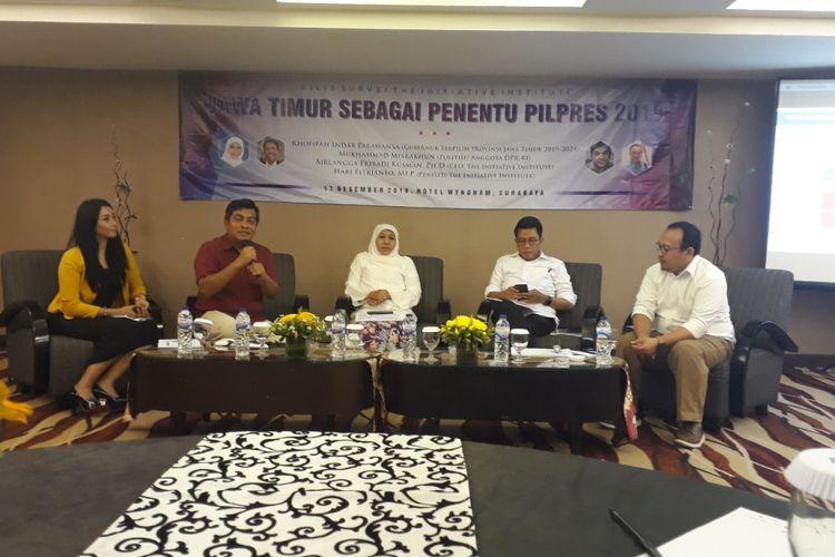 Rilis survei Pilpres 2019 The Initiative Institute, Senin (17/12/2018) di Surabaya