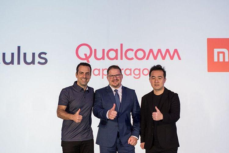 VP VR Facebook Hugo Barra, President Qualcomm Incorporated  Cristiano Amon, dan VP Xiaomi VP Thomas Tang dalam jumpa pres di CES 2017, Las Vegas, Senin (8/1/2018).