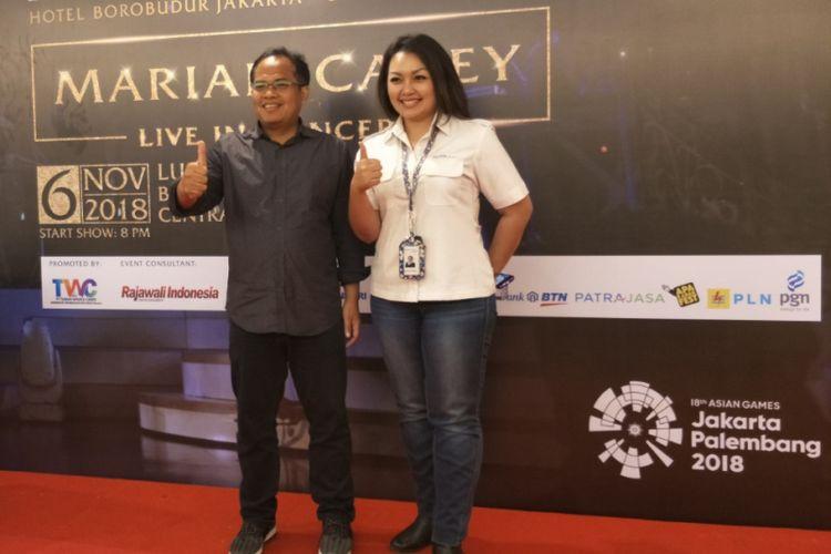 Konferensi pers konser Mariah Carey di Hotel Borobudur, Jakarta Pusat, Senin (14/5/2018).