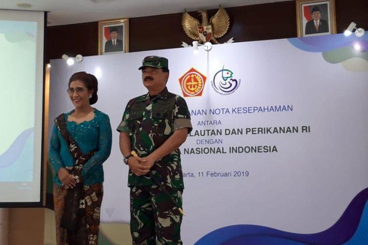 Menteri Kelautan dan Perikanan Susi Pudjiastuti dan Panglima TNI Marsekal Hadi Tjahjanto di Jakarta, Senin (11/2/2019).