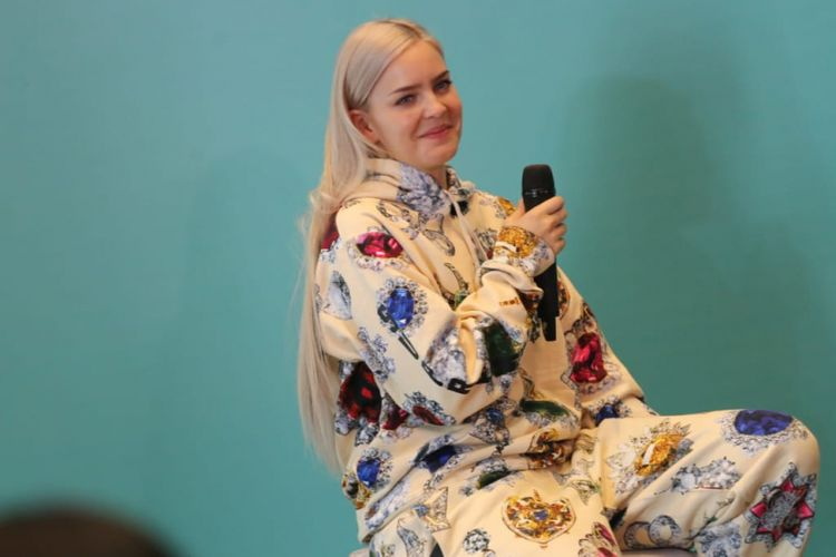 Anne Marie saat ditemui dalam acara jumpa pers Spotify On Stage di Hotel Mercure, Kemayoran, Jakarta Pusat, Jumat (12/10/2018).