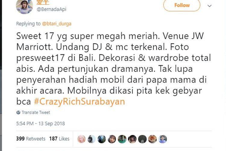 Salah satu twit tentang tagar Crazy Rich Surabayan di Twitter, Jumat (14/9/2018).