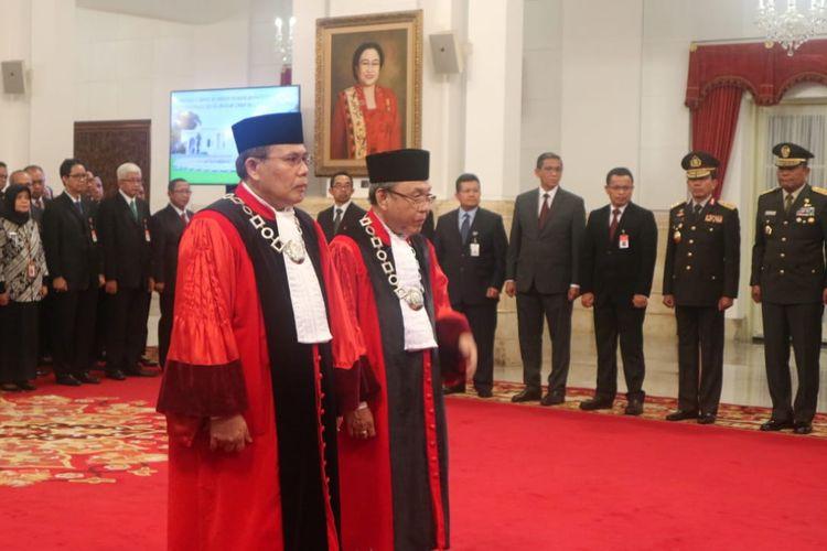 Pembacaan sumpah jabatan hakim MK di Ruang Utama Istana Negara, Jakarta, Kamis (21/3/2019) siang.