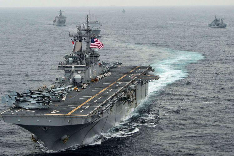 Foto yang diambil pada 2016 menunjukkan kapal perang amfibi milik Amerika Serikat, USS Boxer.