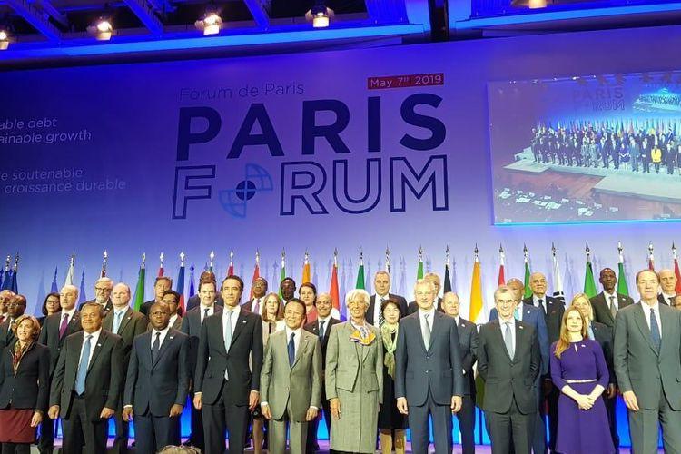 Gubernur Bank Indonesia (BI) Perry Warjiyo menghadiri Paris Forum, Selasa (7/5/2019).