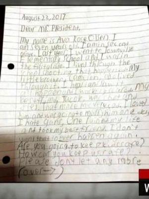 Surat Ava Olsen untuk Presiden Amerika Serikat Donald Trump. (CNN)