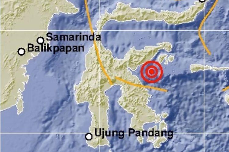 Epicentrum gempa Banggai Sulawesi Tengah, magnitudo 6,9, 12 April 2019.