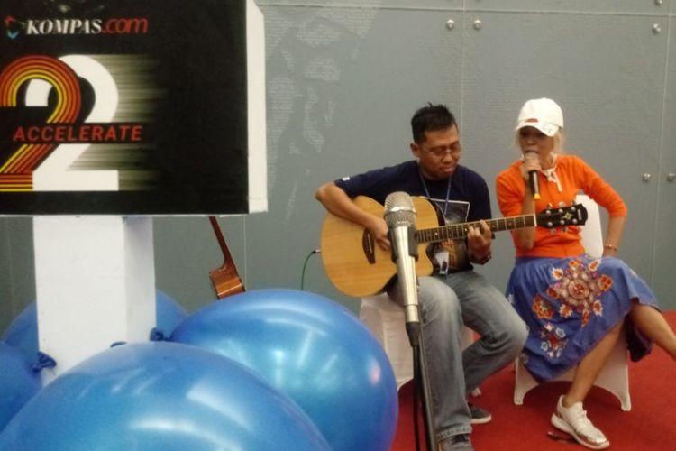 Syaharani tampil di perayaan ulang tahun ke-22 KOMPAS.com, di gedung Kompas, Palmerah, Jakarta Barat (14/9/2017).