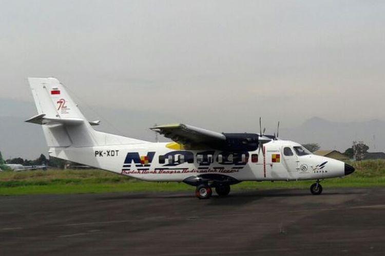 Pesawat N219 hasil pengembangan riset PT Dirgantara Indonesia (DI) dan Lembaga Penerbangan dan Antariksa Nasional (LAPAN) menjalani uji terbang dengan mulus, Rabu (16/8/2017).