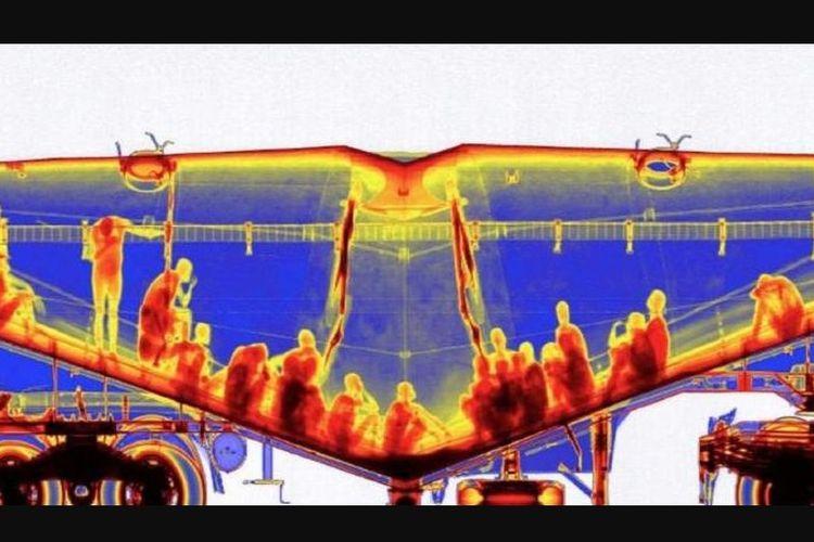 Hasil foto sinar-x memperlihatkan orang-orang yang bersembunyi di dalam truk pengaduk semen.