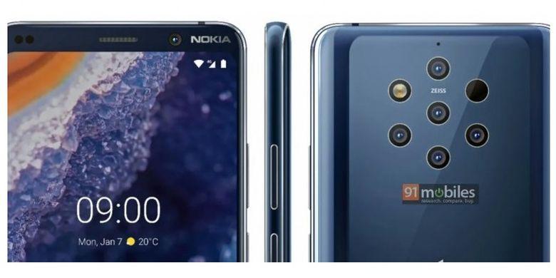 Press Render Nokia 9 PureView, tampak bagian depan, sisi, dan belakang