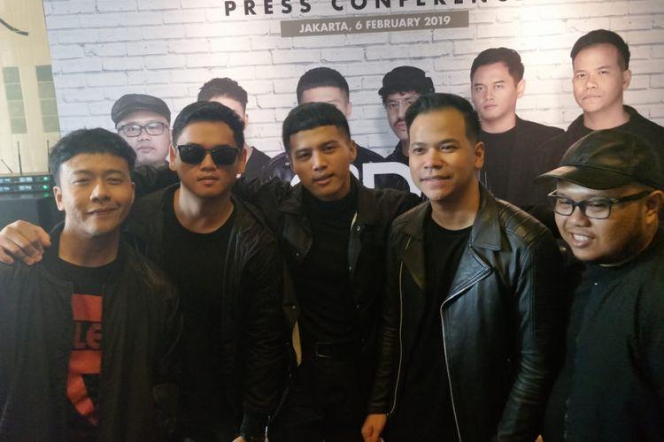 Formasi baru Band Nidji saat ditemui di kawasan Kemang, jakarta Selatan, Rabu (6/2/2019).