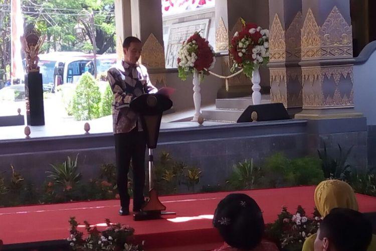 Presiden Joko Widodo saat meresmikan Museum Keris Nusantara di Solo, pada hari Rabu (9/8/2017).