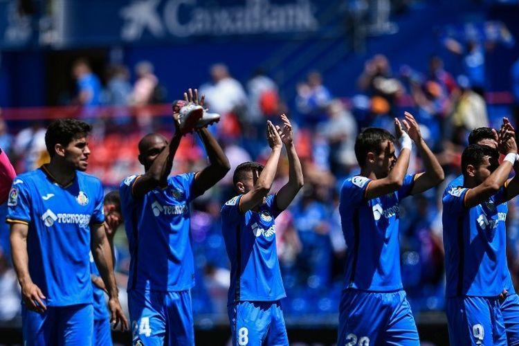 Para pemain Getafe merayakan kemenangan atas Girona dalam lanjutan La Liga Spanyol di Colisseum Alfonso Perez, 5 Mei 2019.
