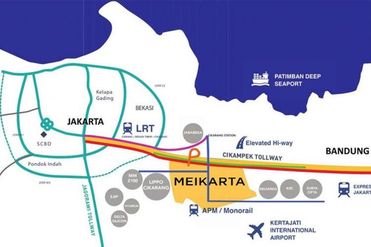 Peta lokasi Meikarta, Cikarang, Jawa Barat.