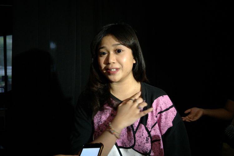 Penyanyi Brisia Jodie saat ditemui disela-sela gladi resik Konser Musik Spesial Trans 7 Cerita Tentang Cinta di Balai Sarbini, Semanggi, Jakarta Selatan, Rabu (20/2/2019).