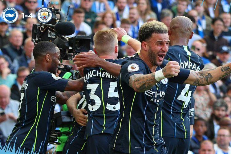 Laga Brighton & Hove Albion vs Manchester City di Stadion American Express Community berakhir dengan skor 4-1 untuk kemenangan tim tamu, Minggu (12/5/2019).
