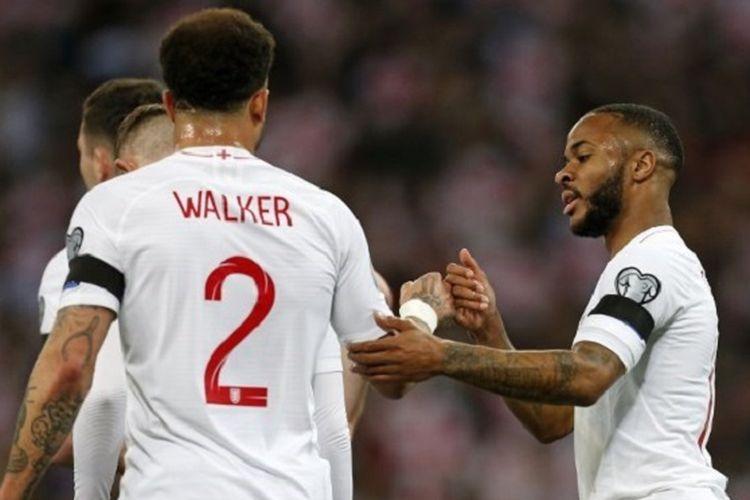 Raheem Sterling merayakan golnya pada pertandingan Inggris vs Rep. Ceko dalam babak kualifikasi Piala Eropa 2020 di Stadion Wembley, 22 Marer 2019.