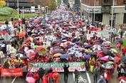 Hujan Tak Halangi 30.000 Guru di Los Angeles untuk Gelar Unjuk Rasa