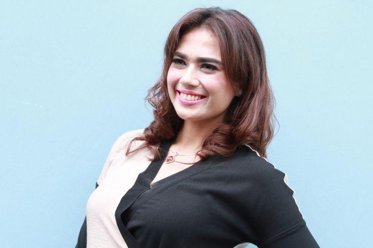 Catherine Wilson dijumpai sesudah menjadi bintang tamu dalam program bincang-bincang di Studio TransTV, Mampang, Jakarta Selatan, Senin (15/1/2018) pagi.