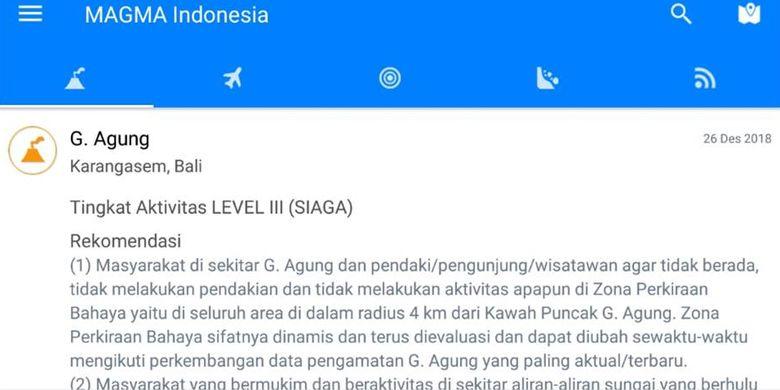 Tampilan menu laporan aktivitas gunung api aplikasi Magma Indonesia